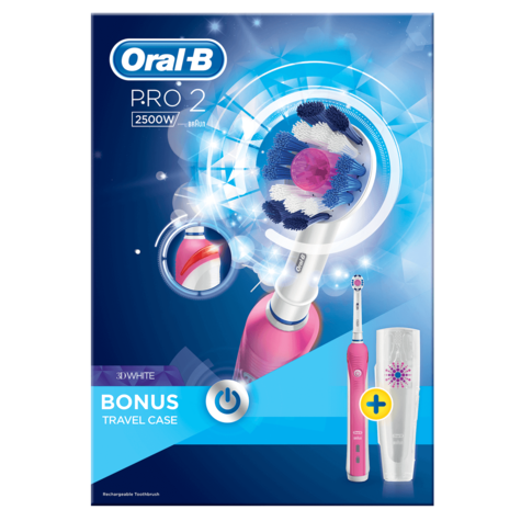 Oral B Pro 2 3D White Electric Rechargeable Toothbrush + Travel Case | 2500W | Pink Thumbnail 5