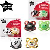 Tommee Tippee Essentials Funky Animal Face Orthodontic Soothers 6-12mX2 | BPA Free