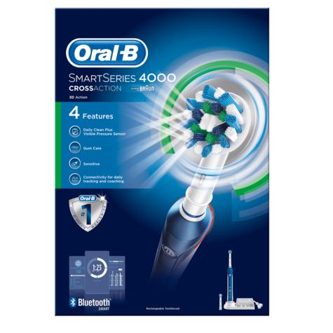 Oral-B Smart Series 4000 Cross Action Electric Rechargeable Toothbrush | Bluetooth Thumbnail 6