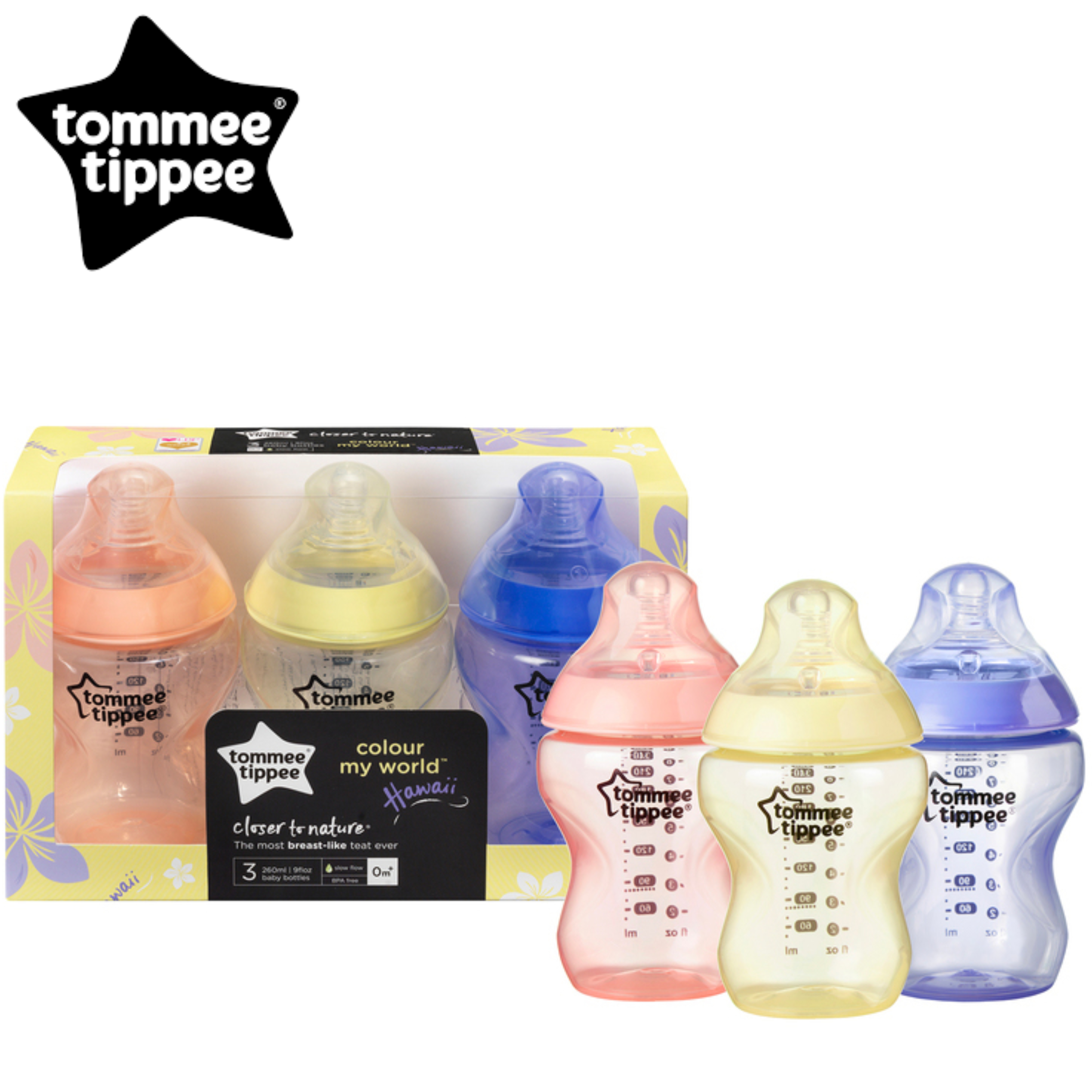 Tommee Tippee Closer to Nature Colour My World Bottle Pink 260ml 3Pk | Anti Colic | New