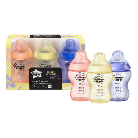 Tommee Tippee Closer to Nature Colour My World Bottle Pink 260ml 3Pk | Anti Colic | New Thumbnail 3