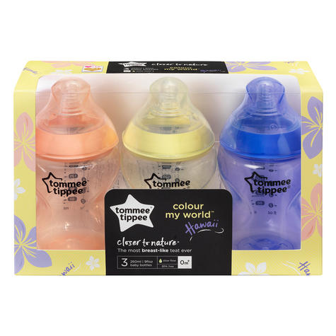 Tommee Tippee Closer to Nature Colour My World Bottle Pink 260ml 3Pk | Anti Colic | New Thumbnail 5