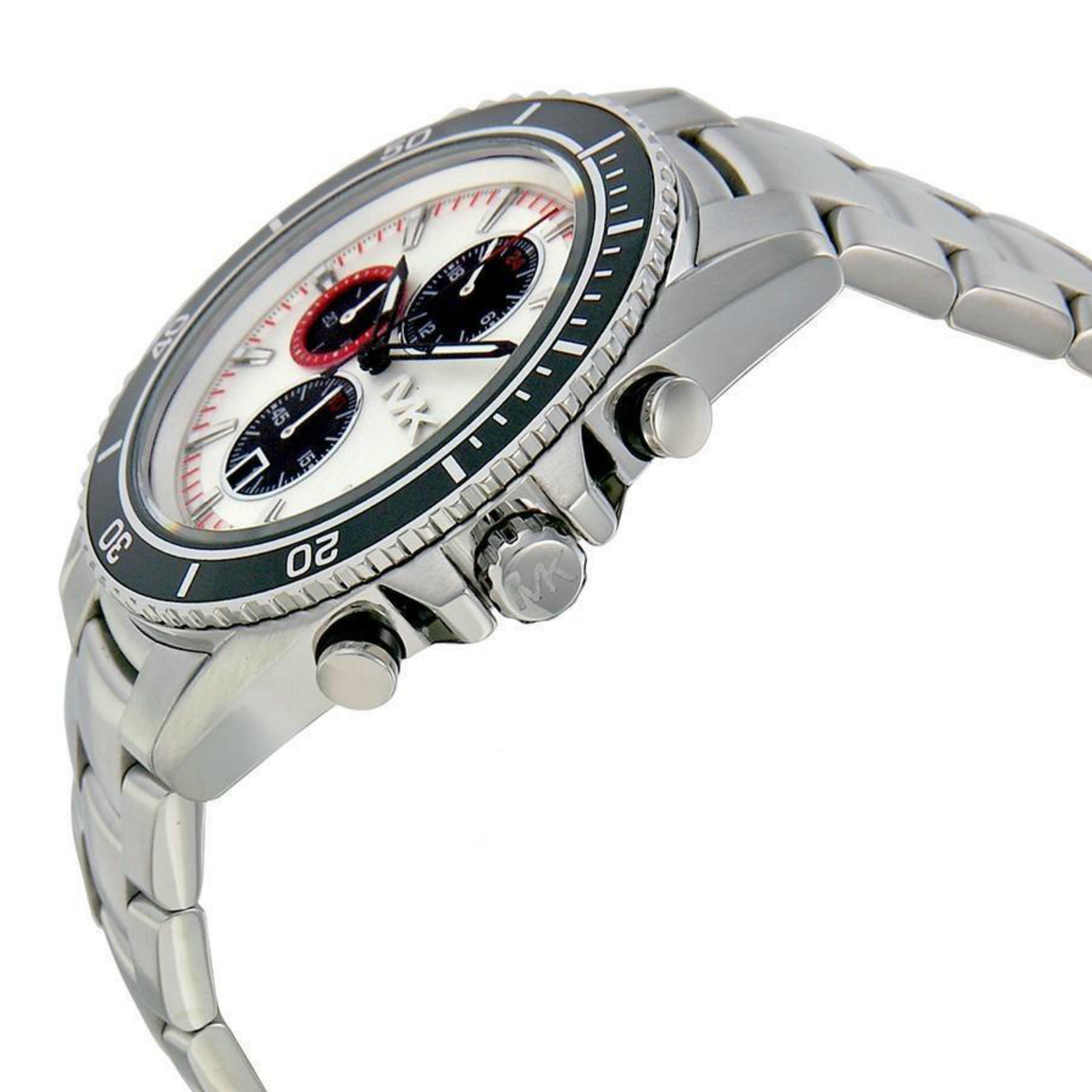 eee34ab3dfba Michael Kors Bradshaw Logo Dial Chronograph Designer Silver Men s Watch  MK8339 Thumbnail 2