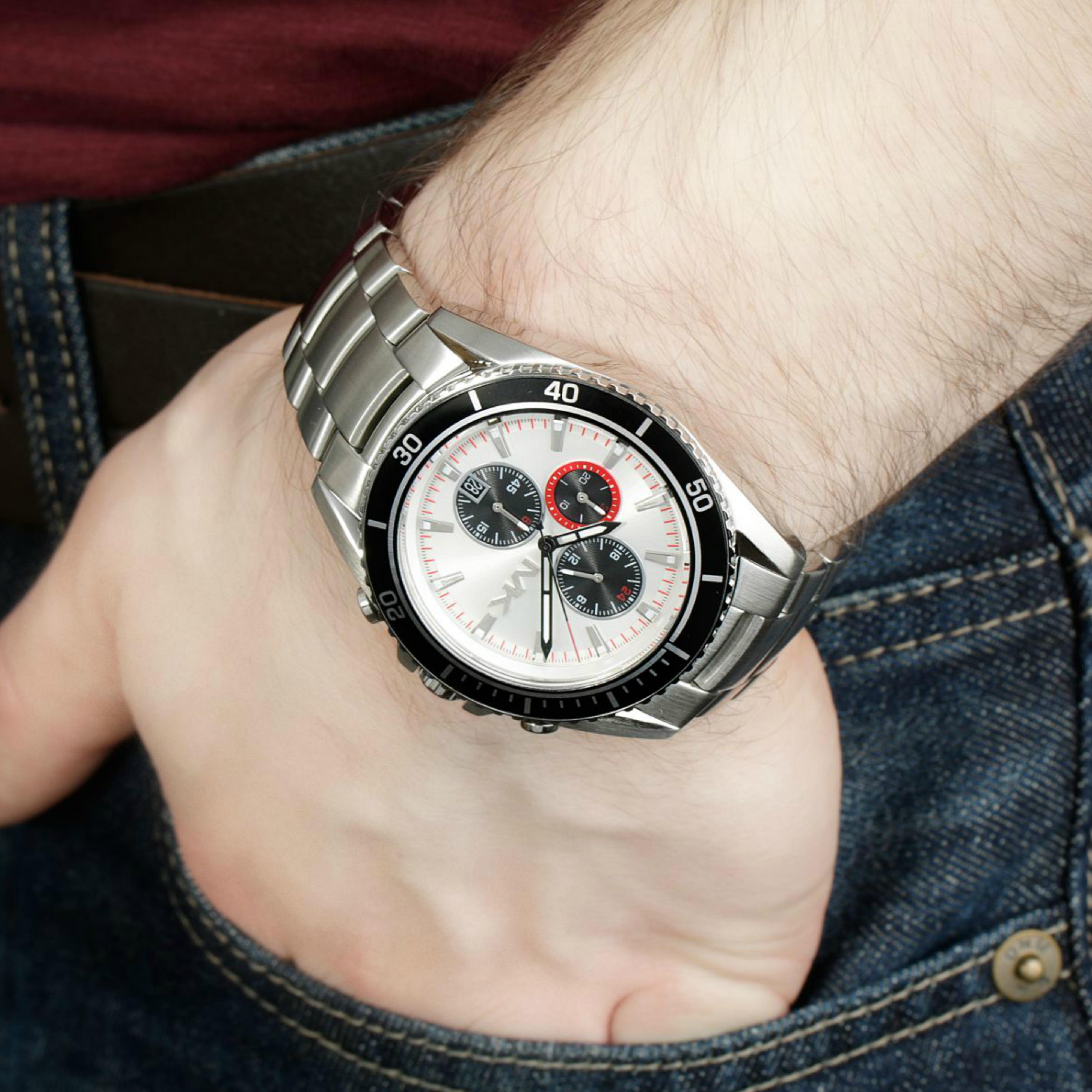 0aa03613a002 Michael Kors Bradshaw Logo Dial Chronograph Designer Silver Men s Watch  MK8339 Thumbnail 6