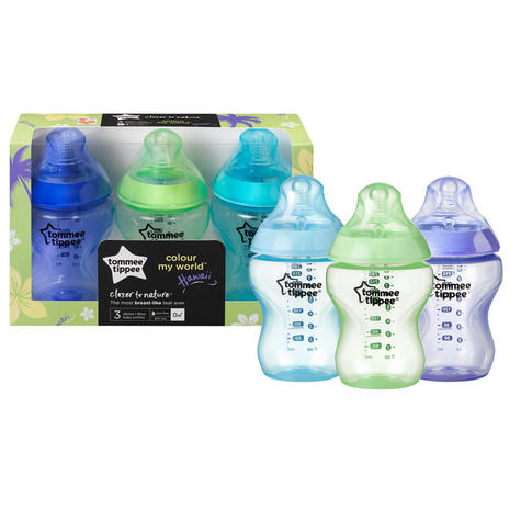 Tommee Tippee Closer to Nature Colour My World Bottle Blue 260ml 3Pk | Anti Colic | New Thumbnail 3
