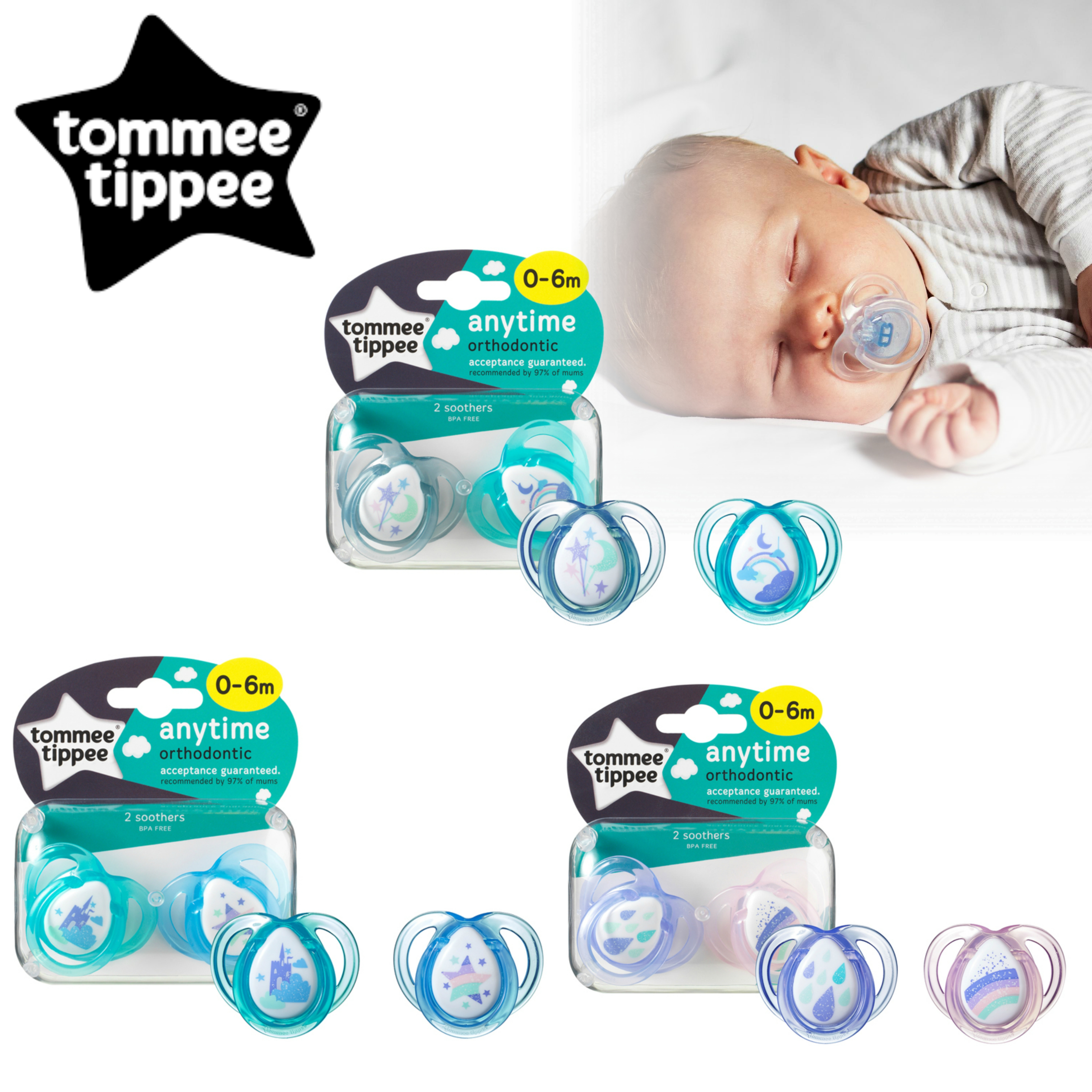 Tommee Tippee Closer to Nature Anytime Soother 0-6m 2Pk |  Dummies  |  Assorted Colours |  New
