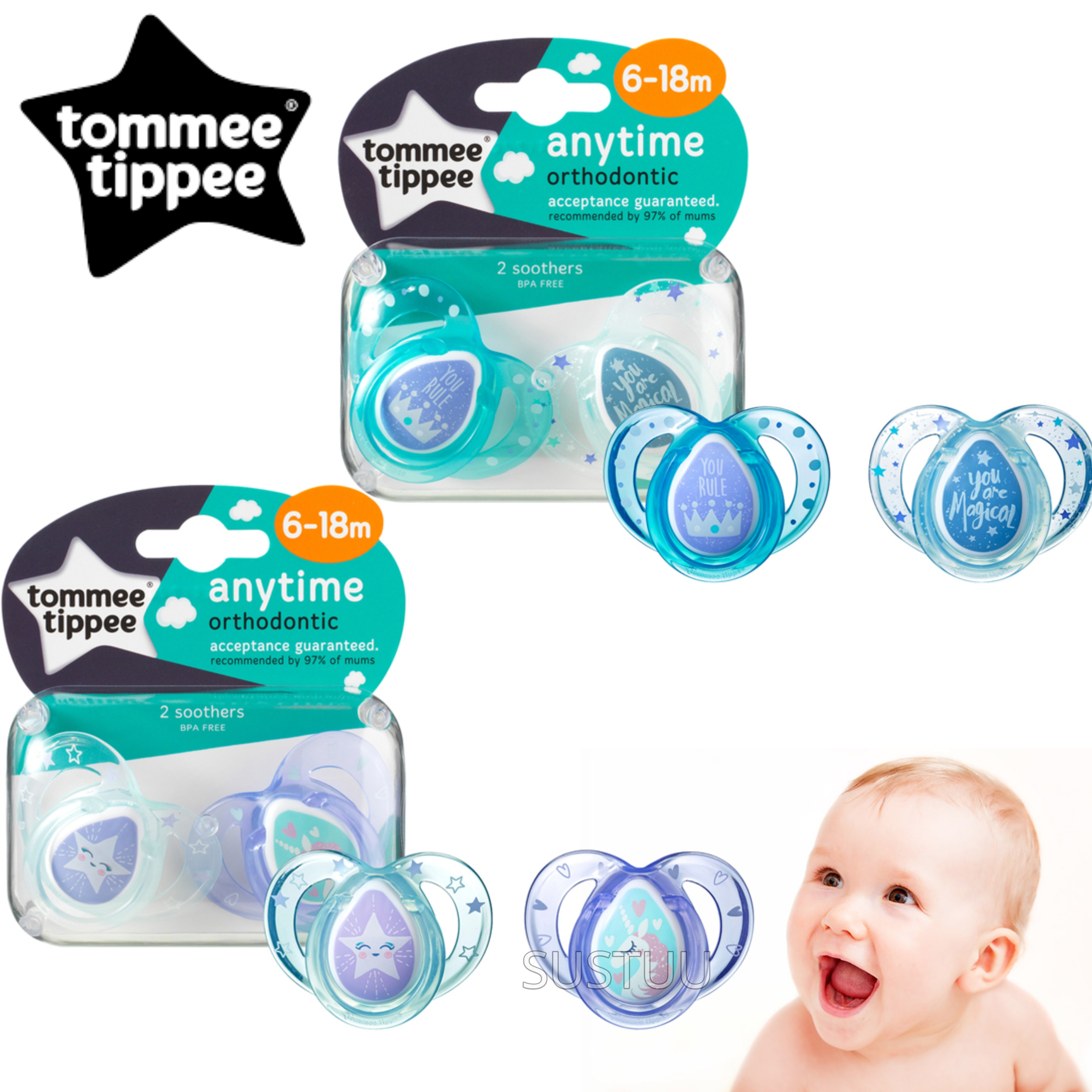 Tommee Tippee Closer to Nature Anytime Soother Pink 6-18m 2Pk | Designs may vary | New