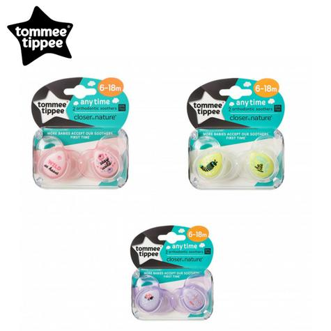 Tommee Tippee Closer to Nature Anytime Soother Pink 6-18m 2Pk | Designs may vary | New Thumbnail 1