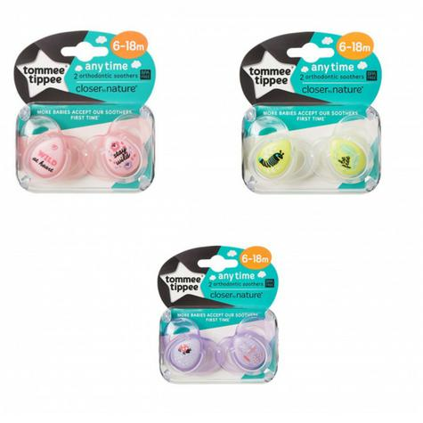Tommee Tippee Closer to Nature Anytime Soother Pink 6-18m 2Pk | Designs may vary | New Thumbnail 3