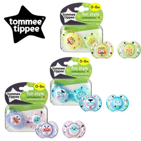 Tommee Tippee Closer to Nature Fun Air Soother 0-6m 2Pk | Dummy | Colours Assorted | New Thumbnail 1