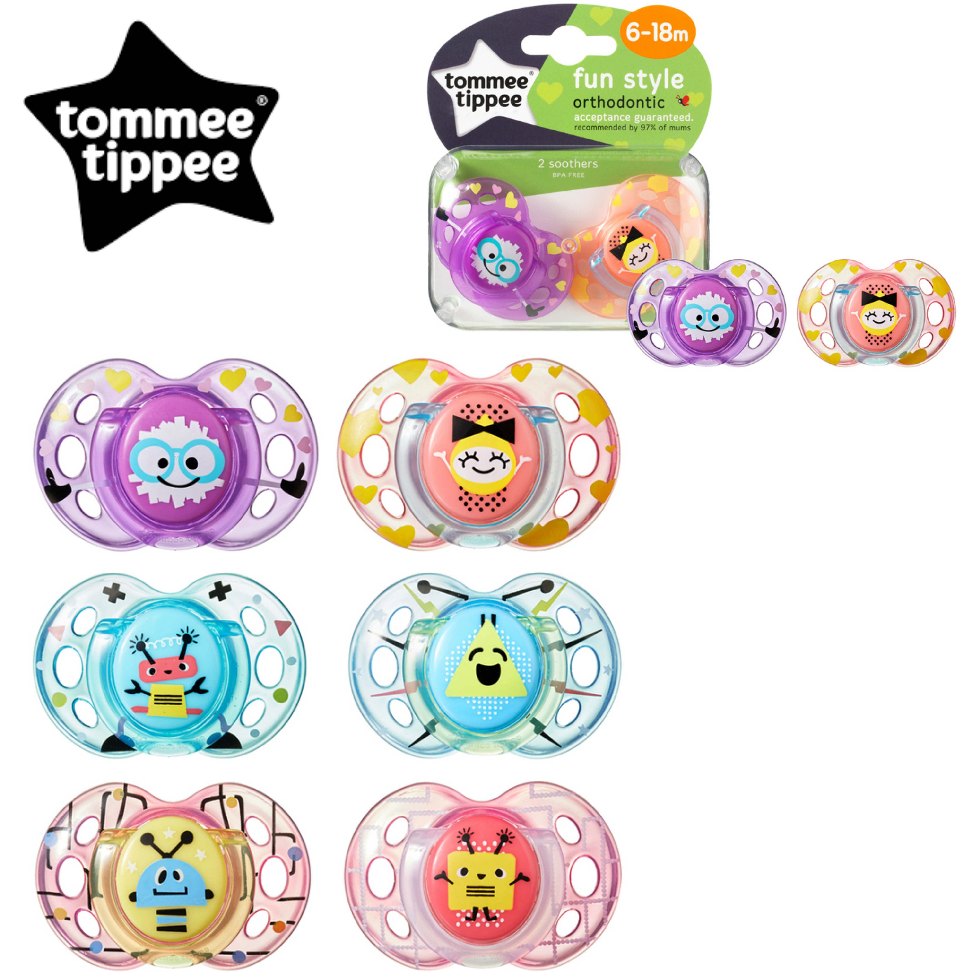 Tommee Tippee Closer to Nature Fun Air Soother 6-18m 2Pk | Design & Colour Assorted | New