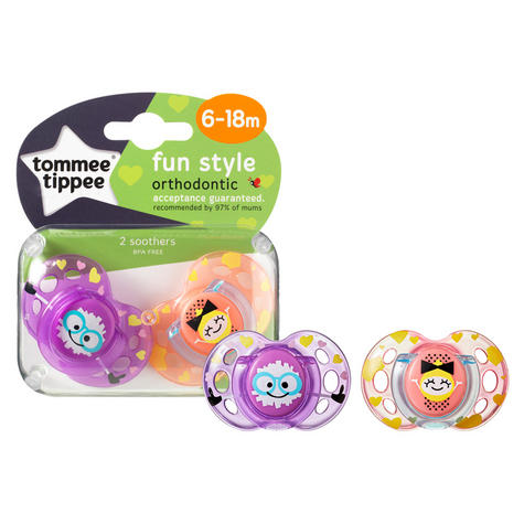Tommee Tippee Closer to Nature Fun Air Soother 6-18m 2Pk | Design & Colour Assorted | New Thumbnail 3
