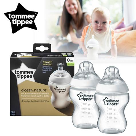 Tommee Tippee Closer To Nature Baby Feeding Bottle 260ml 2Pk | Soft Silicone Teat | Easi Vent | New Thumbnail 1