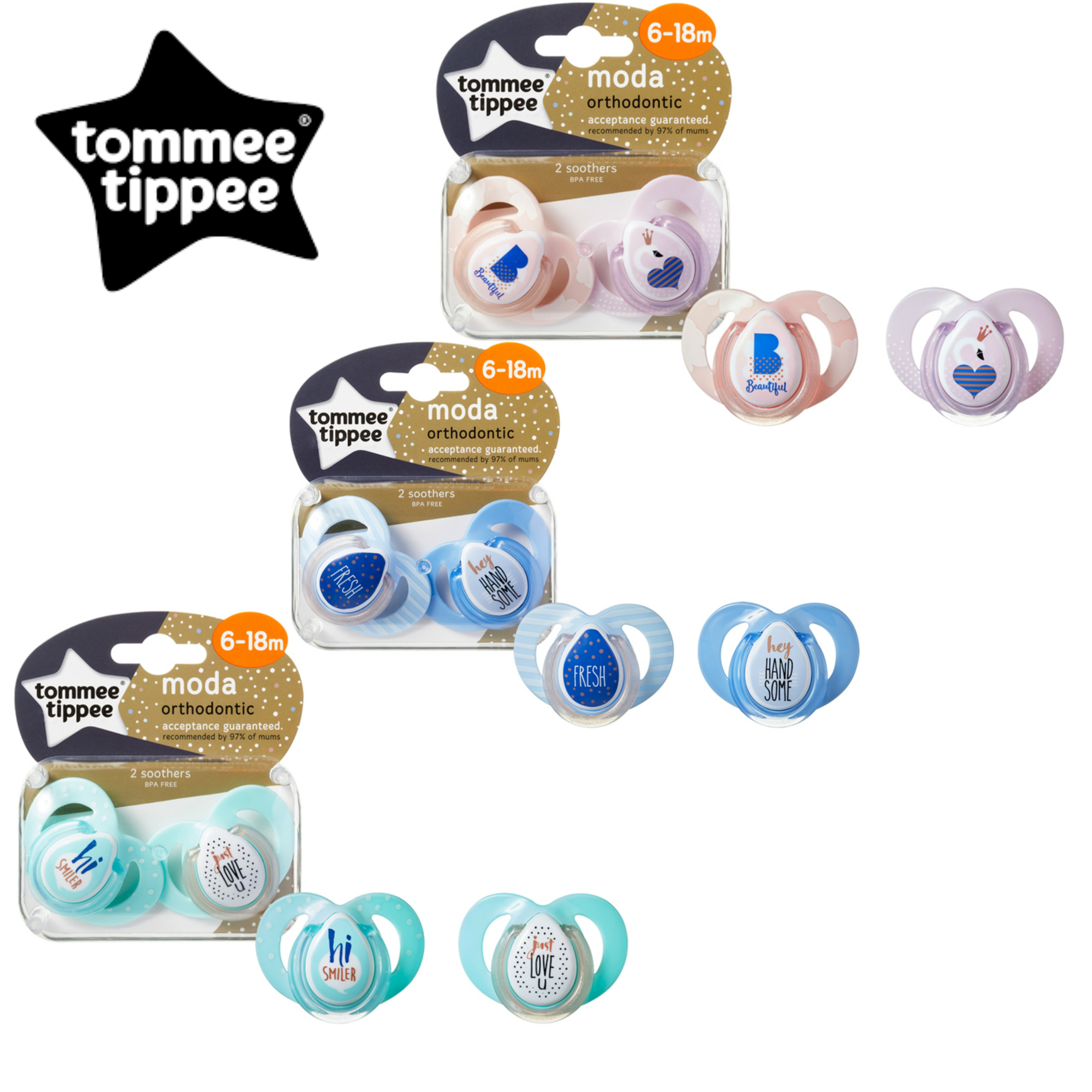 Tommee Tippee Closer to Nature Moda Soother 6-18m 2Pk | Orthodontic Shape | BPA-free | New
