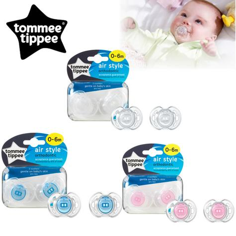 Tommee Tippee Closer to Nature Air Style Soothers 0-6m 2Pk | Classic Dummies | New Thumbnail 1