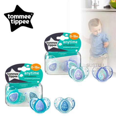 Tommee Tippee Closer to Nature Anytime Soother Blue 6-18m 2Pk | Orthodontic Shape | New Thumbnail 1
