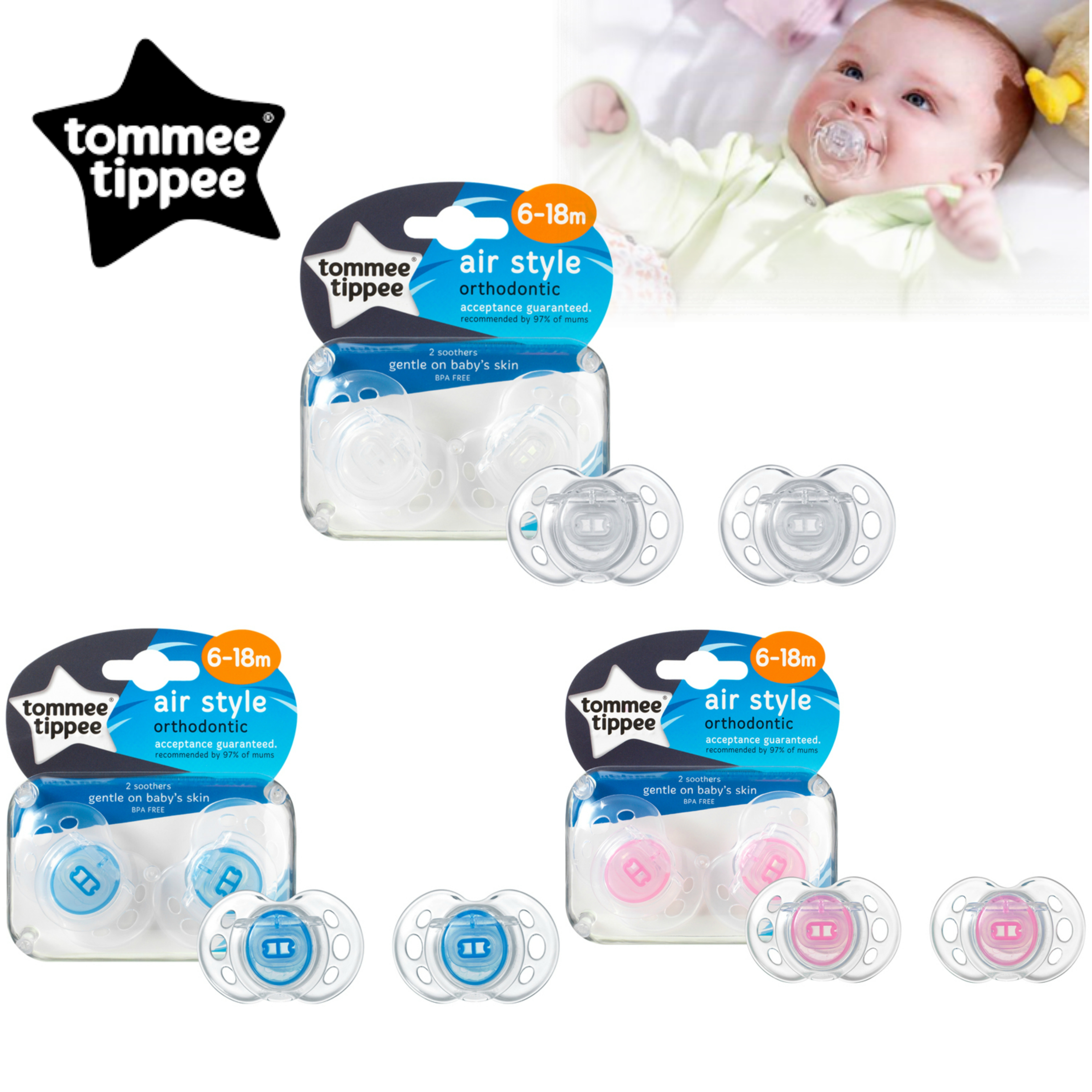 Tommee Tippee Closer to Nature Air Style Soothers 6-18m 2Pk | Silicone Teat | Dummies | New