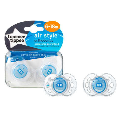 Tommee Tippee Closer to Nature Air Style Soothers 6-18m 2Pk | Silicone Teat | Dummies | New Thumbnail 3
