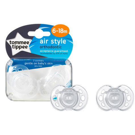 Tommee Tippee Closer to Nature Air Style Soothers 6-18m 2Pk | Silicone Teat | Dummies | New Thumbnail 6