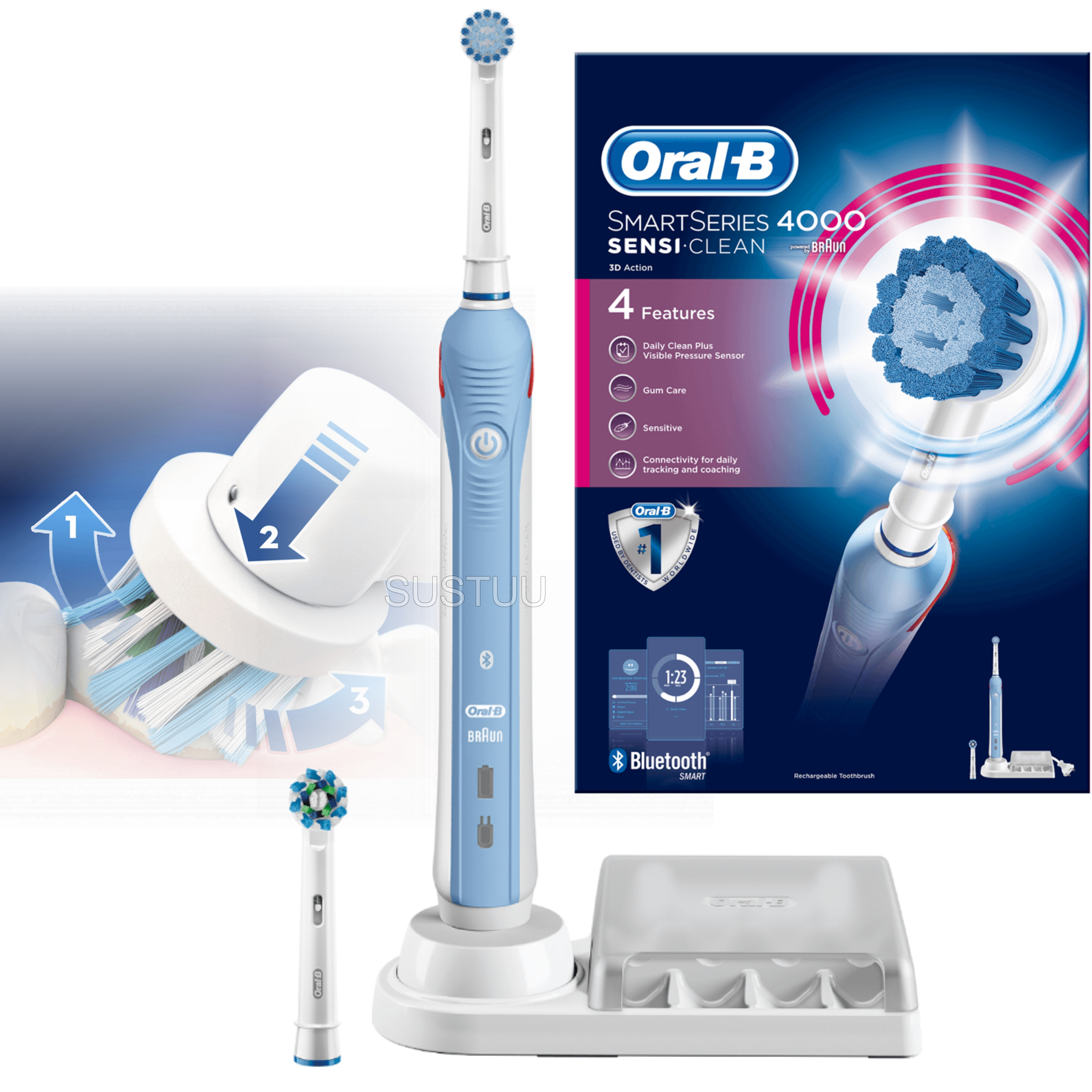 Oral-B Smart Series 4000 Sensi Clean Electric Rechargeable Toothbrush | Bluetooth