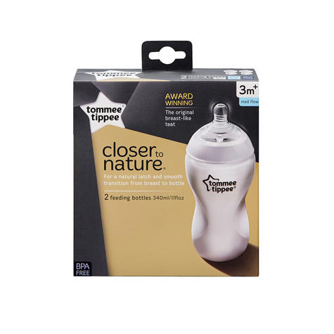 Tommee Tippee Closer to Nature Baby Feeding Bottle 340ml 2pk | Soft Silicone Teat | New Thumbnail 8