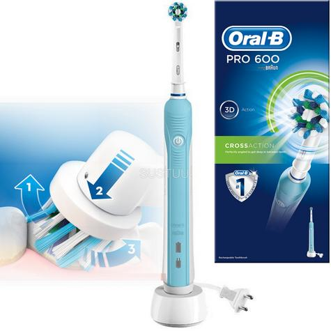 Oral-B Pro 600 Cross Action Electric Rechargeable Toothbrush | 3D Cleaning Action Thumbnail 1
