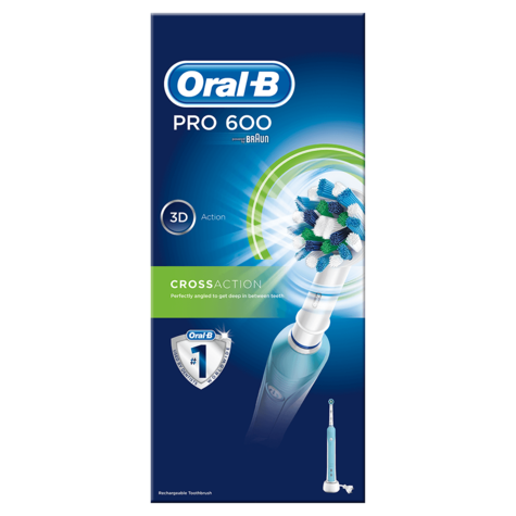 Oral-B Pro 600 Cross Action Electric Rechargeable Toothbrush | 3D Cleaning Action Thumbnail 5