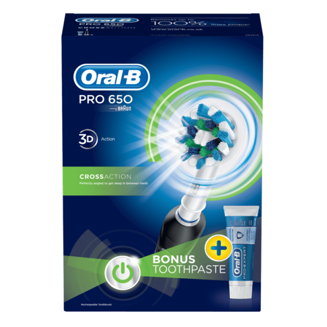 Oral-B Pro 650 Black CrossAction Electric Rechargeable Toothbrush | Toothpaste | NEW Thumbnail 6