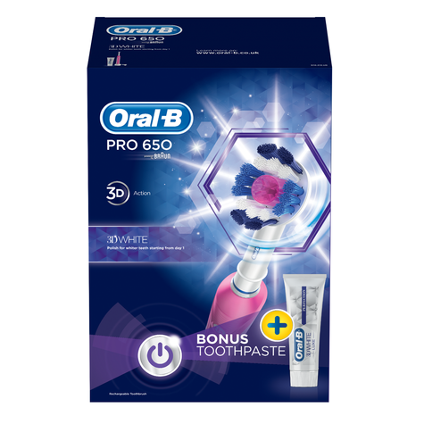 Oral-B Pro650 3D White Electric Rechargeable Toothbrush | Toothpaste 75ml | Pink | NEW Thumbnail 6