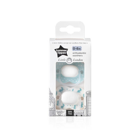 Tommee Tippee Little London Soothers | Silicone Pacifier/Dummies | BPA Free | 0-6m 2Pk | New Thumbnail 8