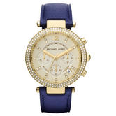 Michael Kors Parker Women Watch|Chronograph Dial|Navy Blue Leather Strap|MK2280