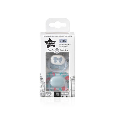 Tommee Tippee Little London Soothers | Silicone Pacifier/Dummies | BPA Free | 6-18m 2Pk | New Thumbnail 4
