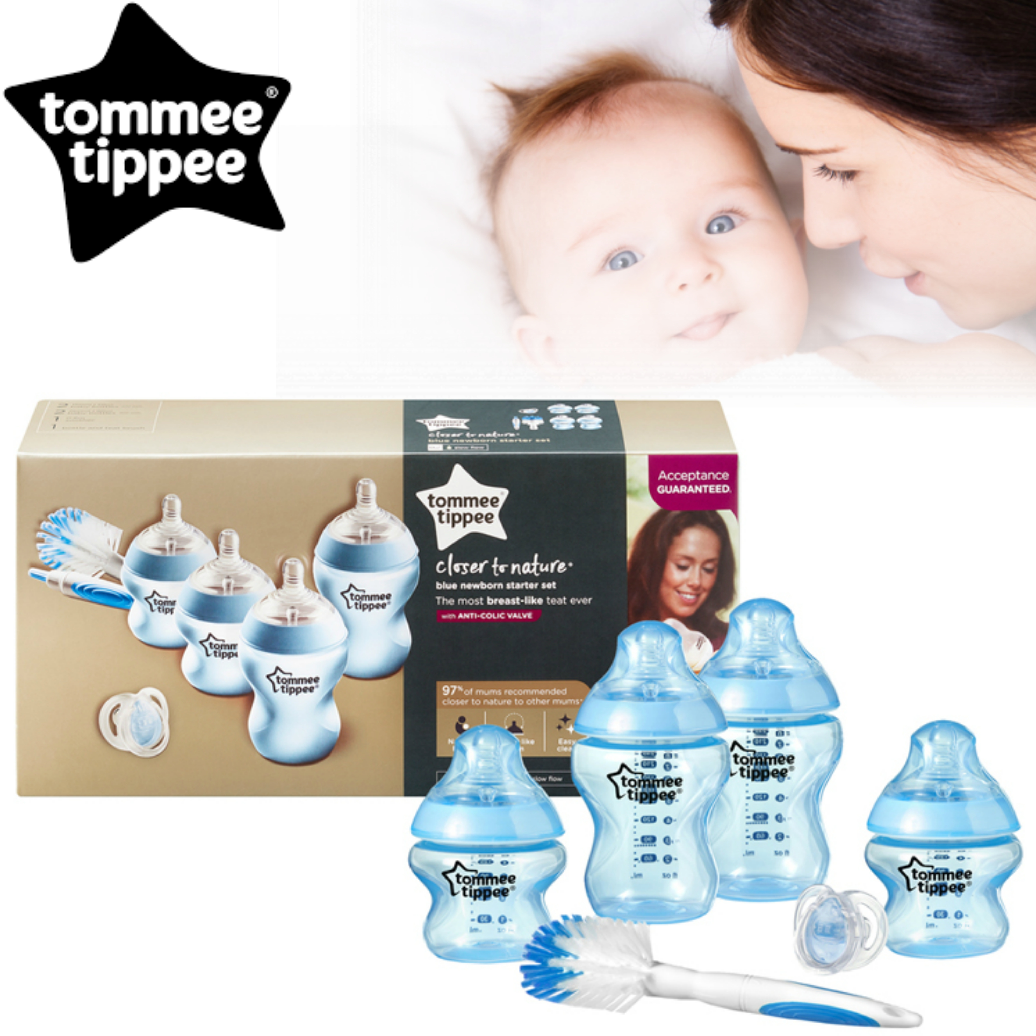 Tommee Tippee Closer to Nature Baby Feeding Bottle Starter Kit | Gift Set | BPA Free