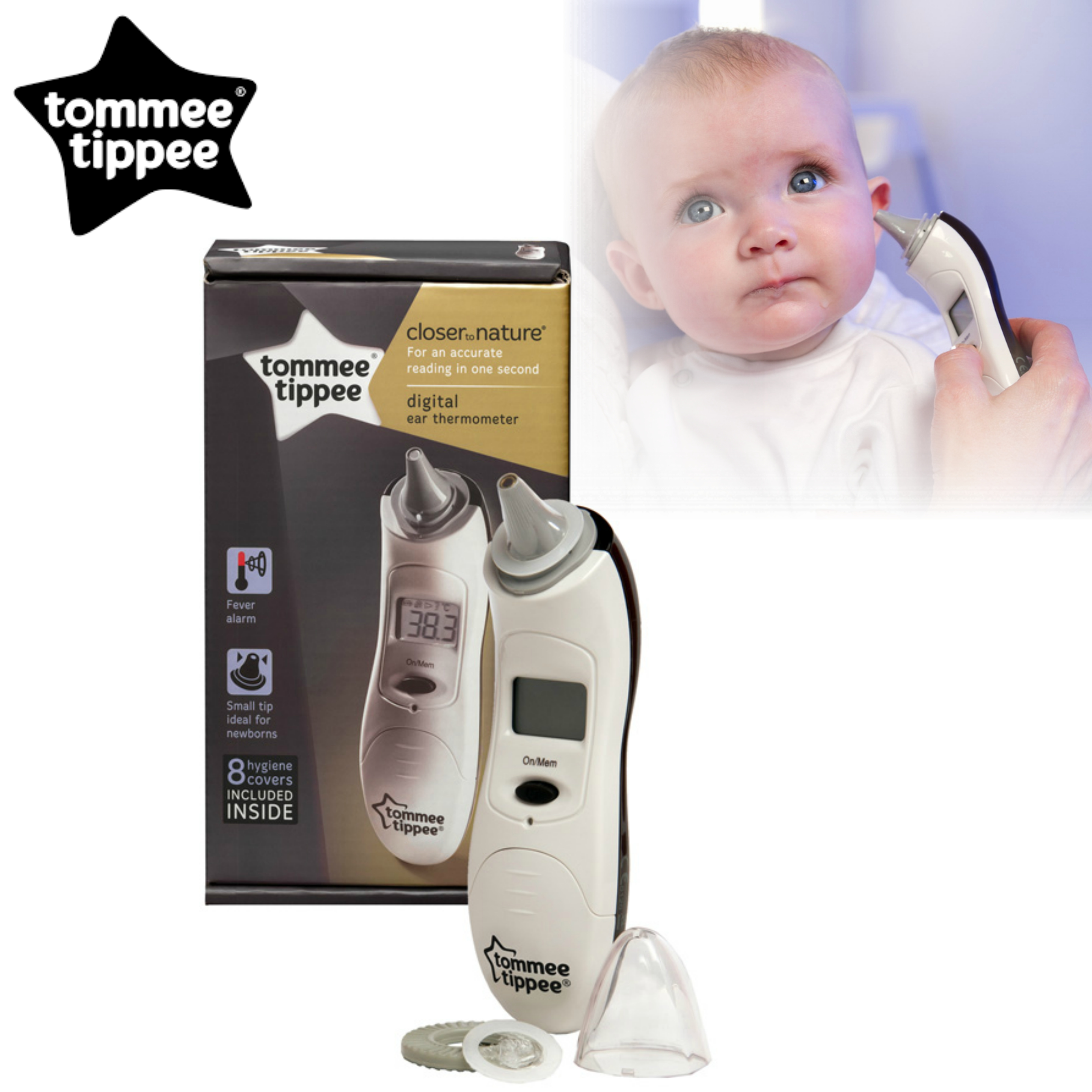 Tommee Tippee Closer to Nature Digital Ear Thermometer | Parent | Child | Nursery | New