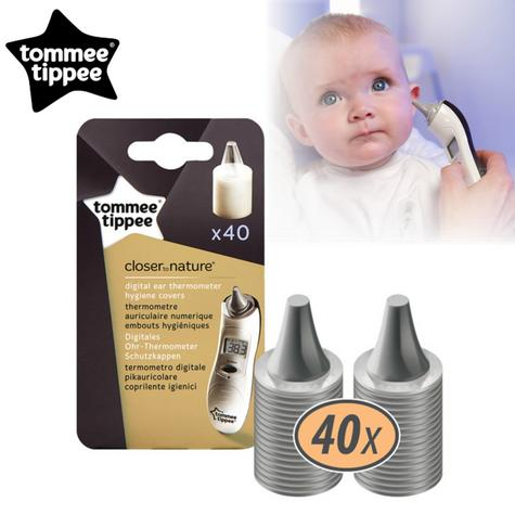 Tommee Tippee Closer to Nature Ear Thermometer Hygiene Covers 40Pk | Covers Refill | New Thumbnail 1