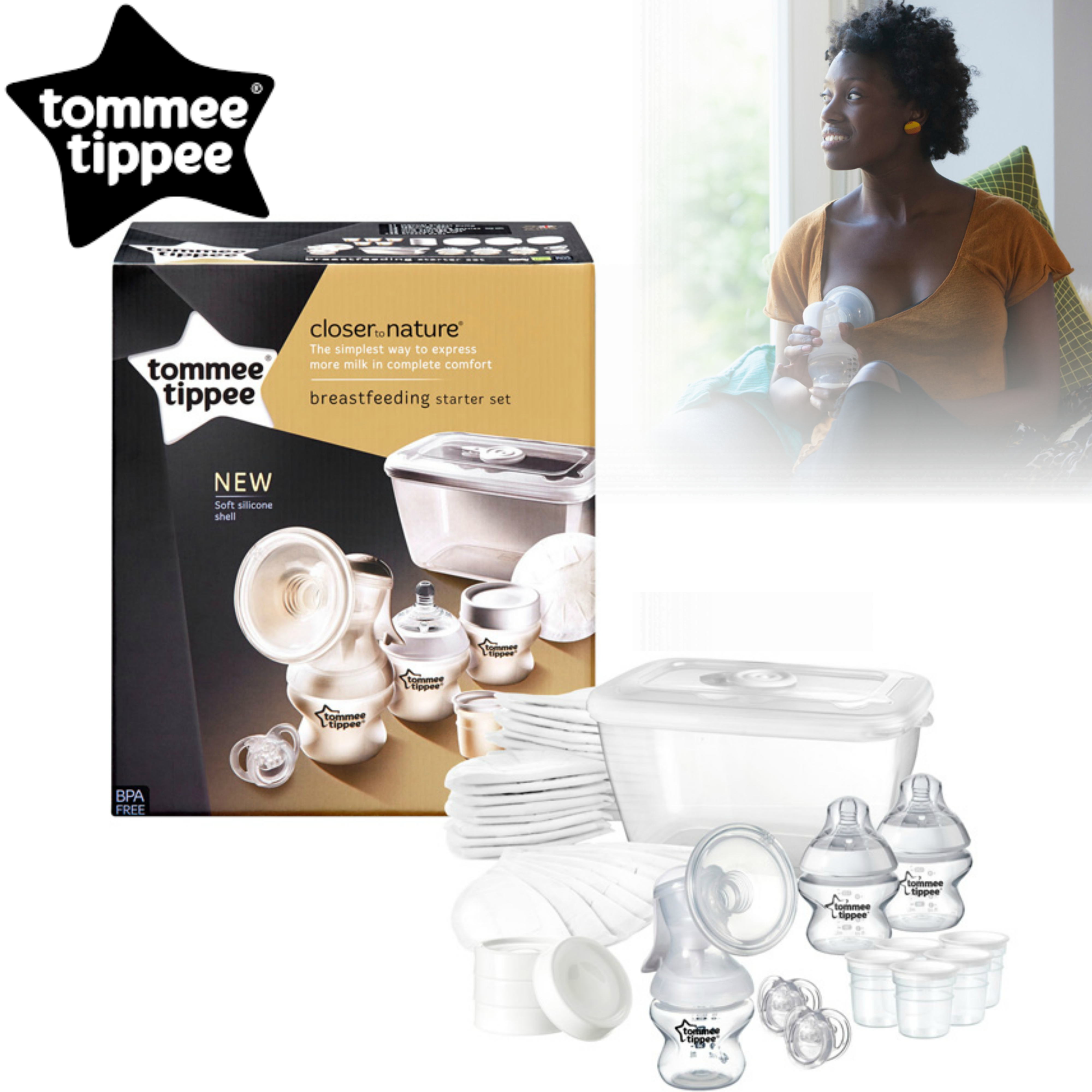 Tommee Tippee Closer to Nature Breast Feeding Kit | Soft Silicon Shell | BPA Free