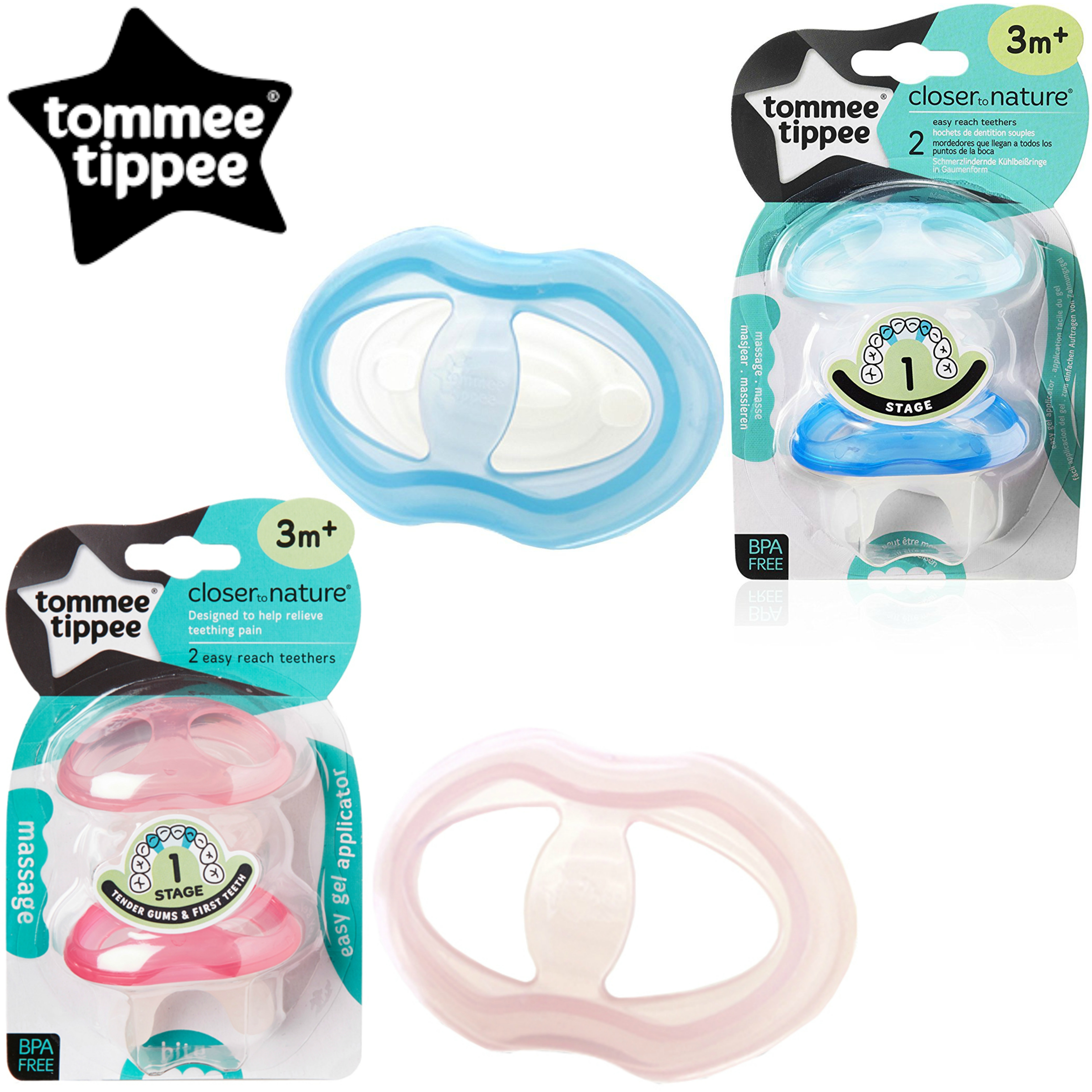 Tommee Tippee Teether Stage 1 | Massaging/Cooling Surface+Teething Gel | Pack Of 2