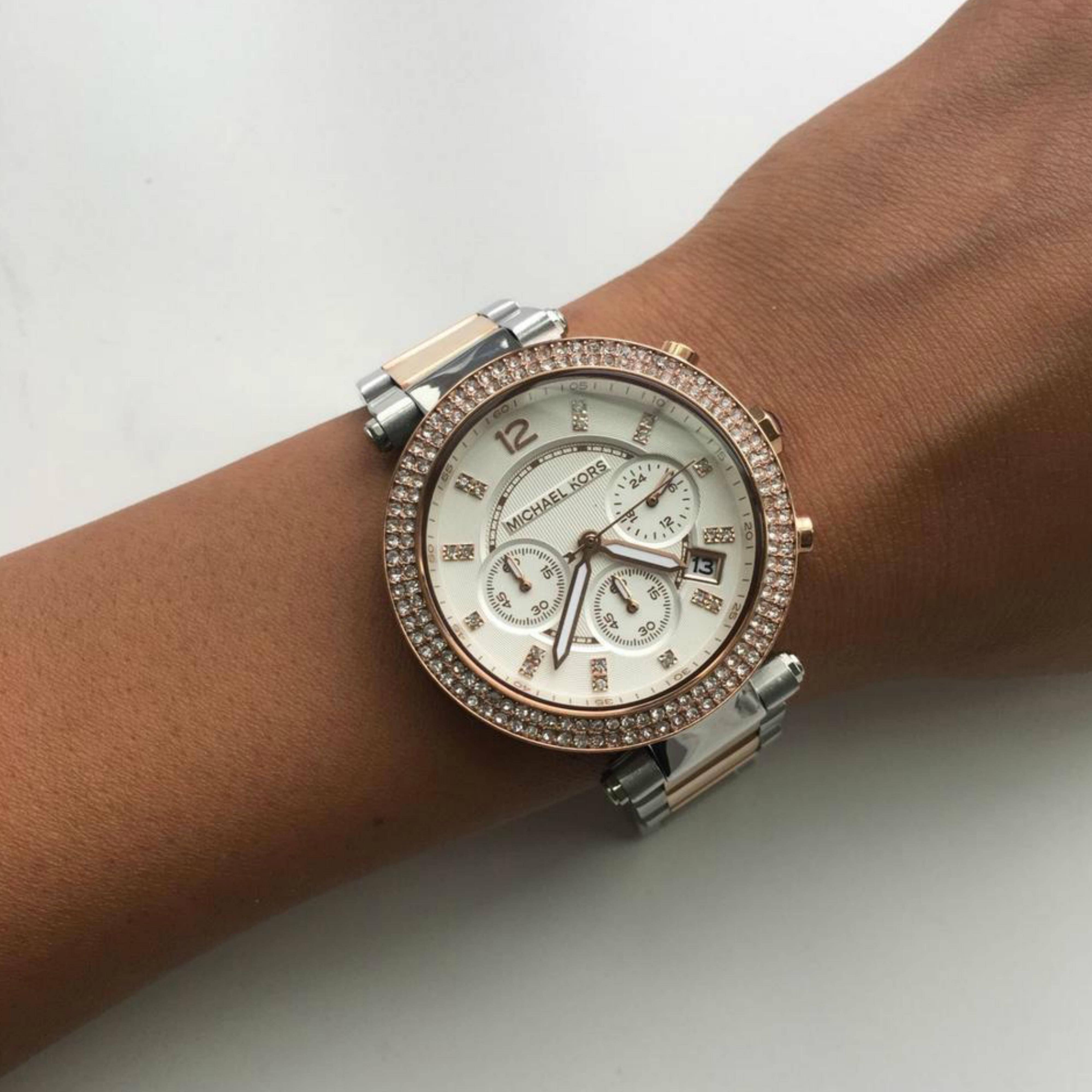 c7ad9fdf7fe4 Michael Kors Ladies Parker Two-Tone Rose Gold Chronograph Daimond Watch  MK5820 Thumbnail 4