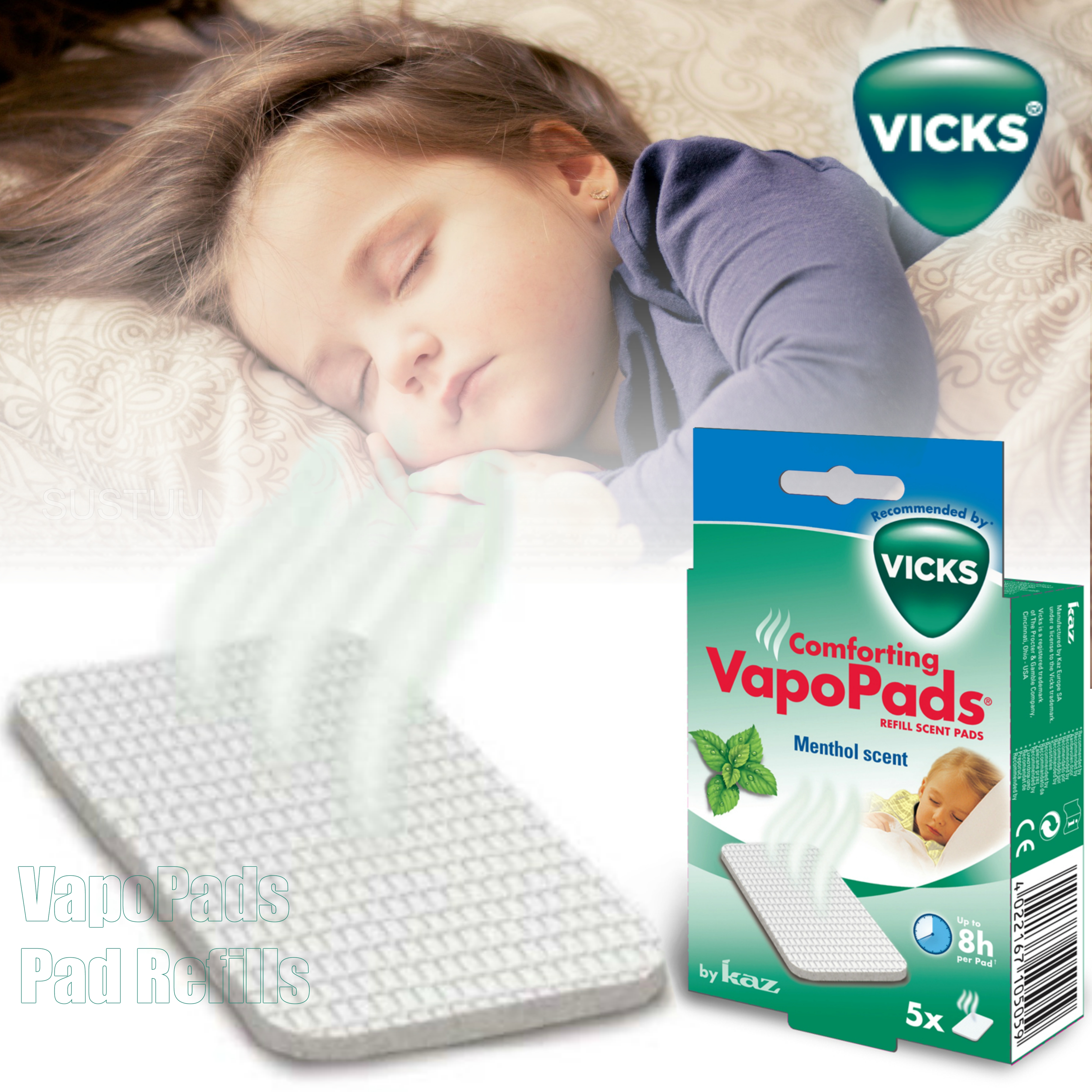 Vicks VapoPads Scent Refill|Waterless|Soothing Menthol|8 Hours Comfort|7 Pack