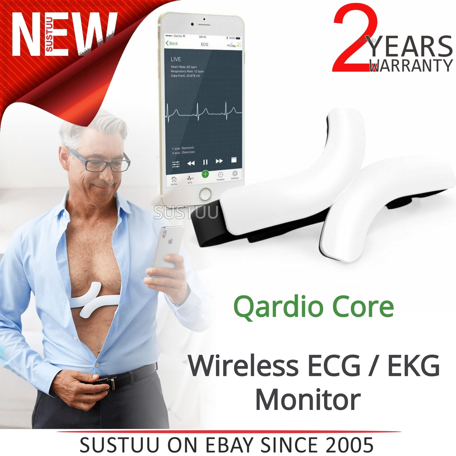 QardioCore Wireless ECG / EKG Mobile Monitor | Accurate Electrocardiograph Trace | NEW
