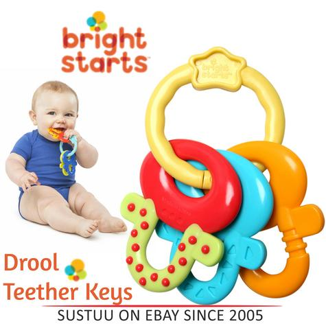 Bright Starts License to Drool Teether Keys|Baby Teething Toy|Easy Hold|Durable Thumbnail 1