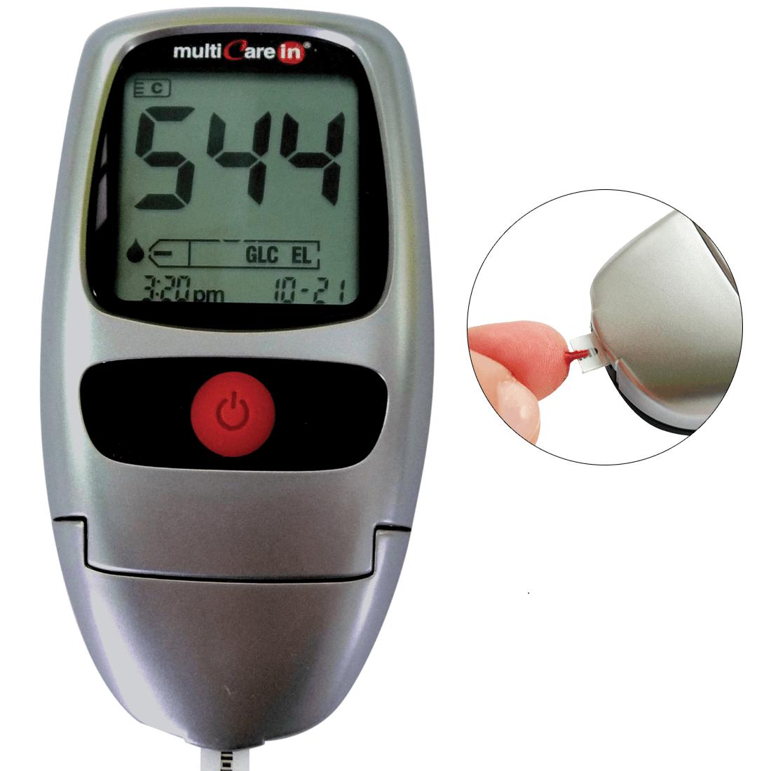 MultiCare In Cholesterol-Triglycerides-Glucose Meter | Strip Ejector | Male/Female