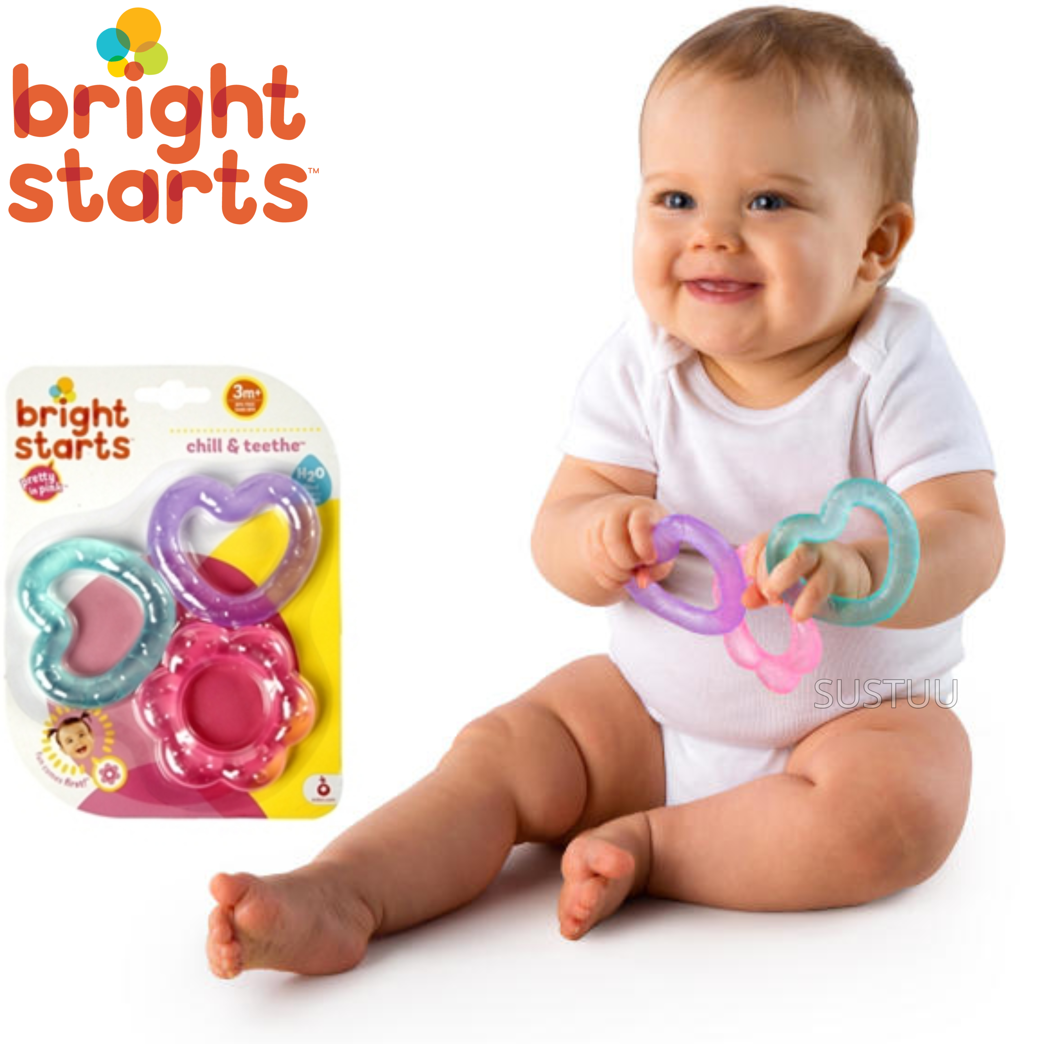 Bright Starts Pretty in Pink Chill N Teether | Kids Fun With Watefilled Dummies x3