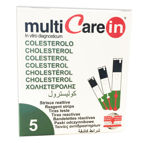MultiCare In Cholesterol Reagent Strips Kit (Pack of 5) | Photometric Measurement Thumbnail 1
