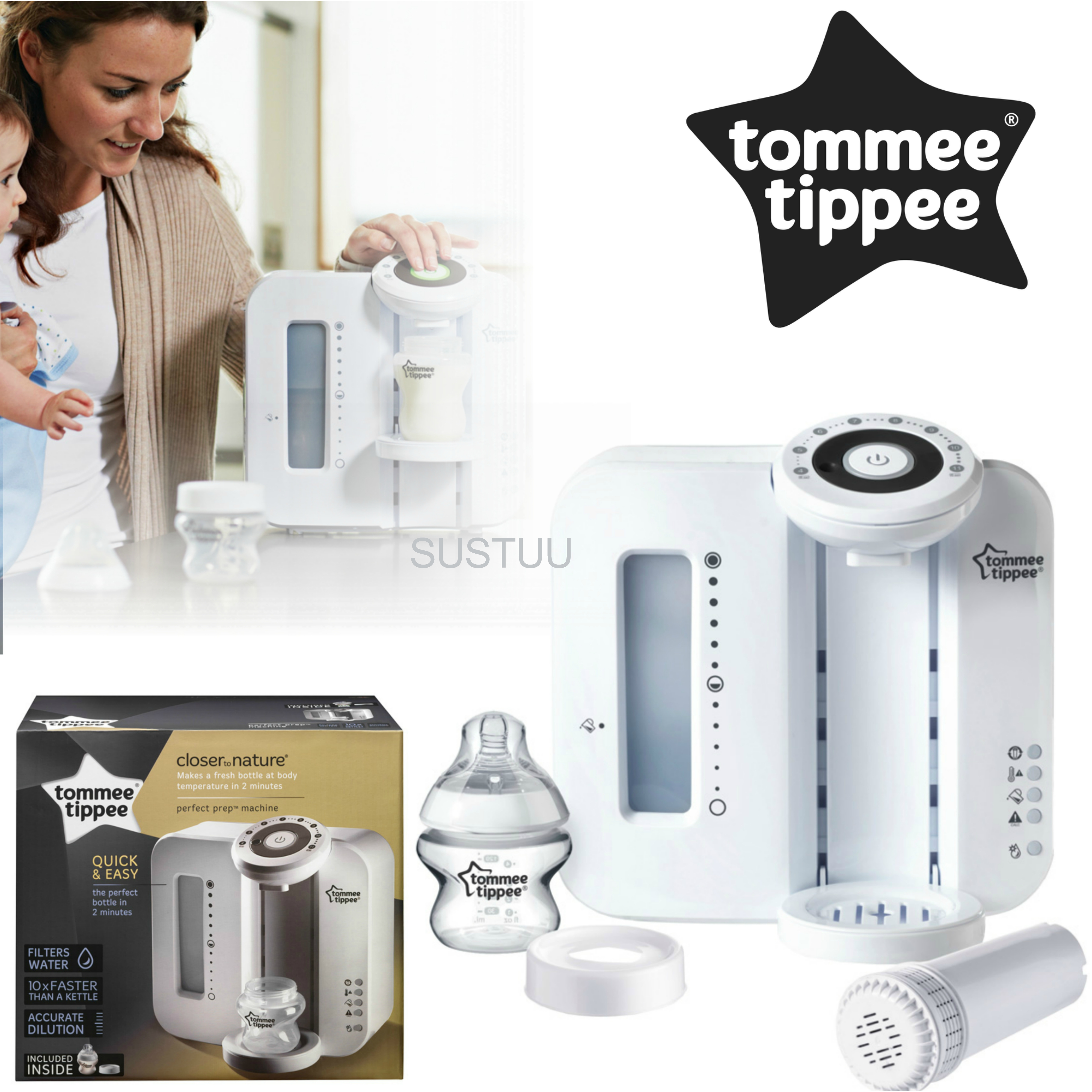 Tommee Tippee Closer To Nature Perfect Prep Machine White?Easy Made Baby Bottle