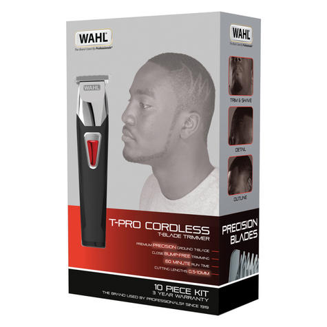 Wahl 9860-806 T-Pro Mens Hair Trimmer Clipper Kit | 10 Piece | Cordless | Rechargeable Thumbnail 4