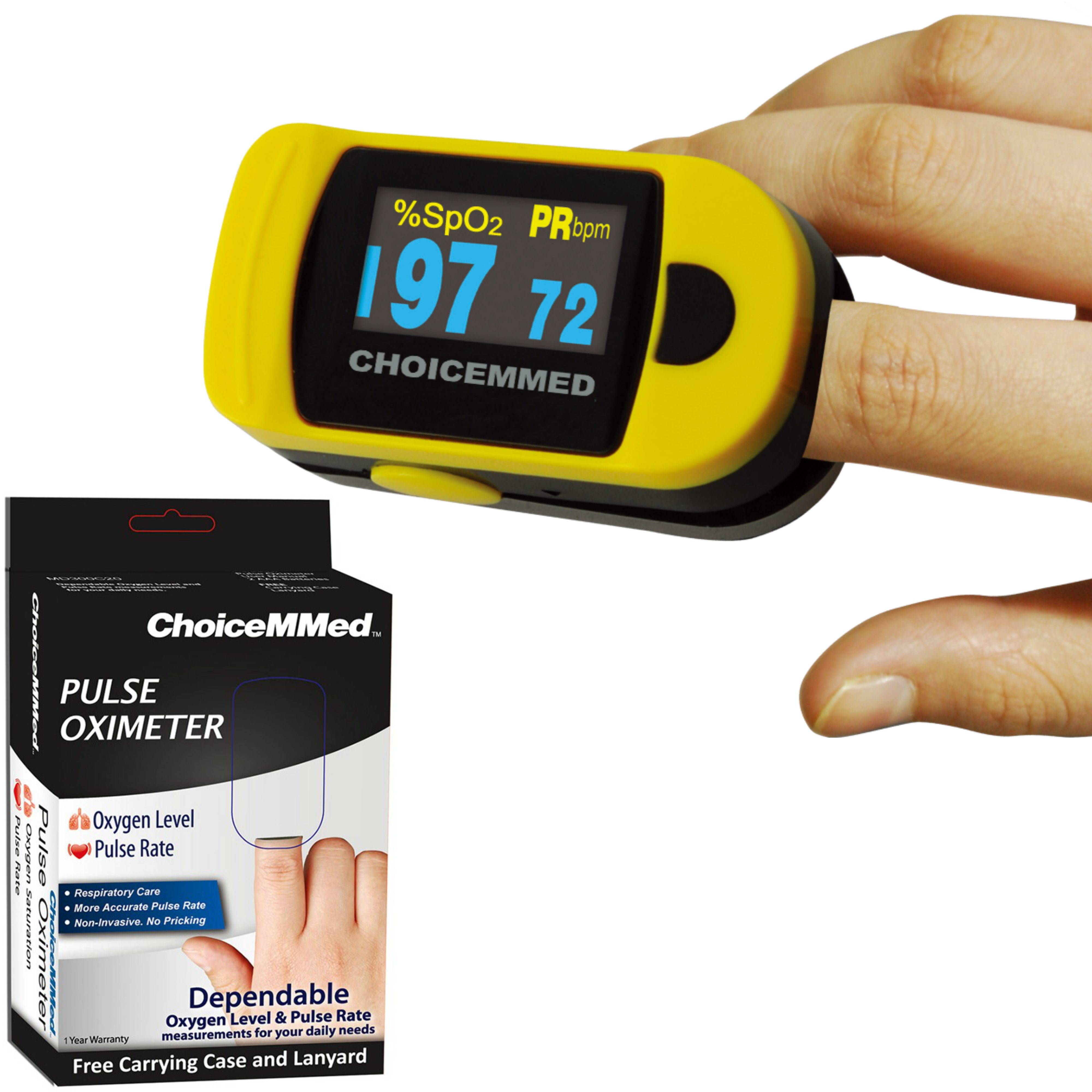 ChoiceMMed Digital Fingertip Pulse Oximeter | 6 Display Modes | Battery-Low Indicator