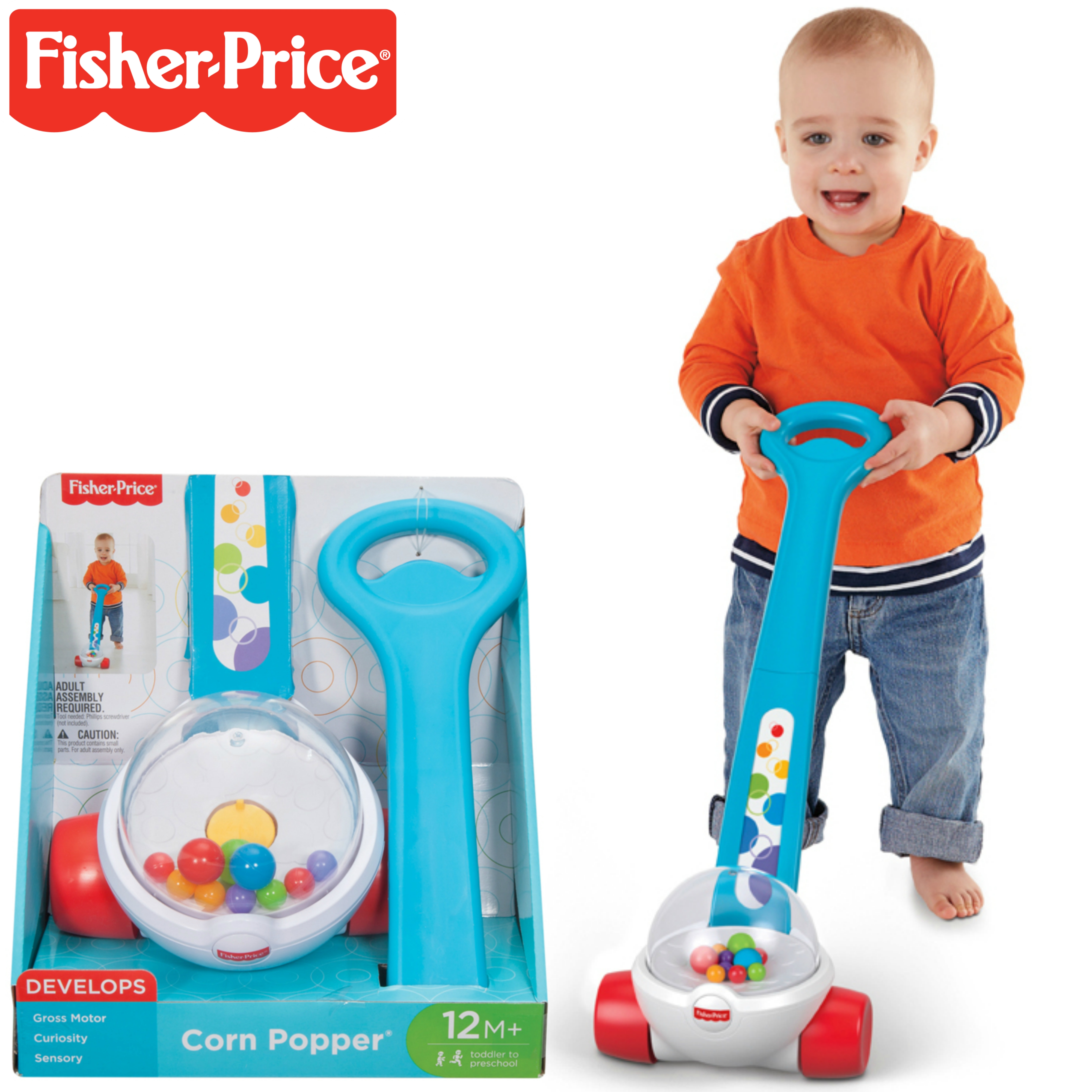 Toddler Push Along Toy with Ball-popping Sounds... Fisher-Price Corn Popper