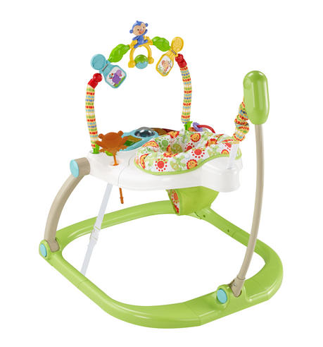 Fisher-Price Rainforest Spacesaver Jumperoo | Portable/Adjustable Baby Bouncer | Lights, Sounds and Music | New Thumbnail 4