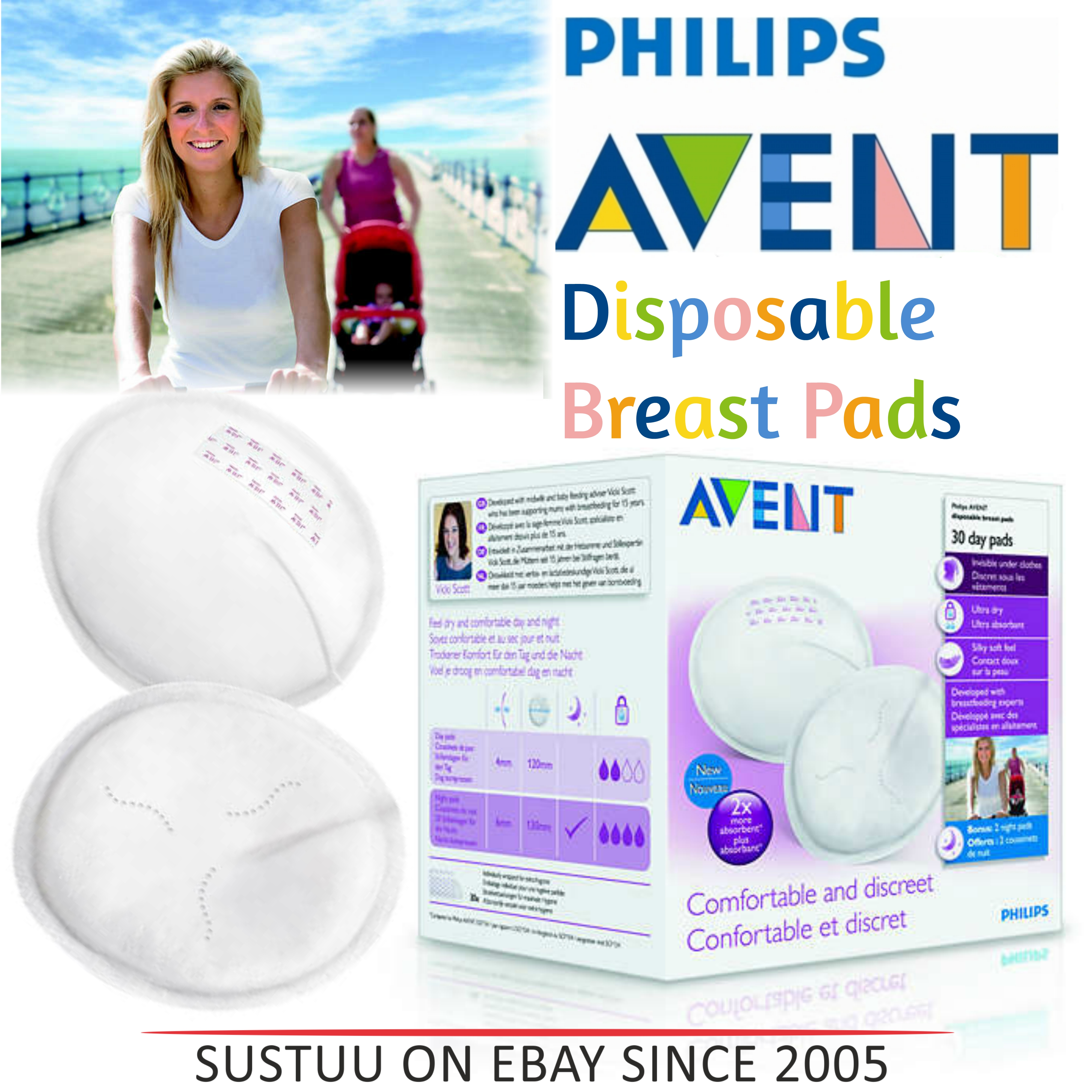 Philips Avent Disposable Breast Pads Day|Hygienic|Four Layers|Silky Soft|30 Pack